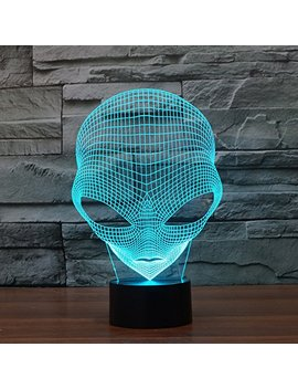 Flymei 3 D Optical Illusion Desk Lamp Unique Night Light For Home Decor 7 Colors Changing Usb Powered Touch Button Led Table Lamp   Best Gift For Kids/Friends/ Birthdays/Holidays (Alien) by Flymei