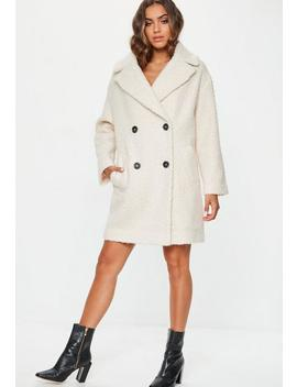 Cream Oversized Boucle Coat by Missguided
