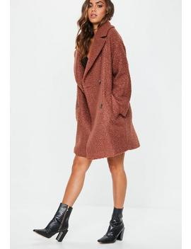 Tan Oversized Boucle Coat by Missguided