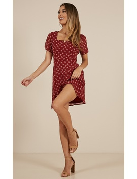 Love To Love You Dress In Wine Floral by Showpo Fashion
