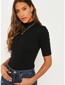 Mock Neck Rib Knit Tee by Shein