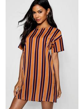 Tonal Stripe Short Sleeved Shift Dress by Boohoo