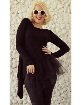 Black Asymmetrical Top / Black Tulle Blouse / Black Viscose Blouse With Tutu / Black Tutu / Asymmetrical Tutu Top Tt76 by Etsy