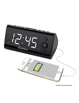 "Electrohome Alarm Clock Radio With Usb Charging For Smartphones & Tablets Includes Dual Alarm, Battery Backup, Auto Time Set & 1.2"" Led Display With 4 Dimming Options (Eaac470 W) by Electrohome"
