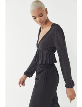 Uo Noah Plunging Ruffle Cropped Top by Urban Outfitters