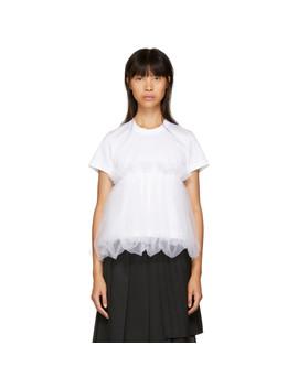 White Tulle Peplum T Shirt by Noir Kei Ninomiya