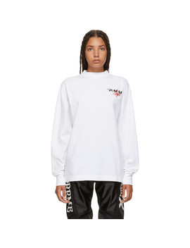 White Racing Logo Long Sleeve T Shirt by Palm Angels