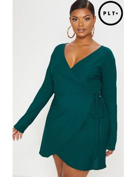 Plus Emerald Green Wrap Long Sleeve Tea Dress by Prettylittlething