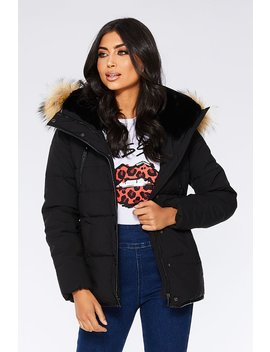 Black Padded Faux Fur Jacket by Quiz