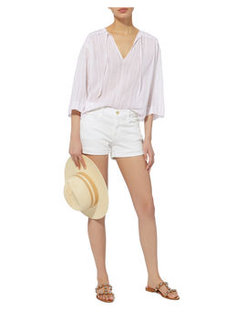Le Cutoff White Shorts by Frame