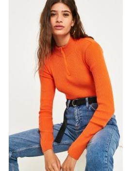 Uo Half Zip Funnel Neck Ribbed Jumper by Urban Outfitters
