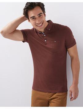 Short Sleeve Buttoned Collar Slub Polo by Rw & Co