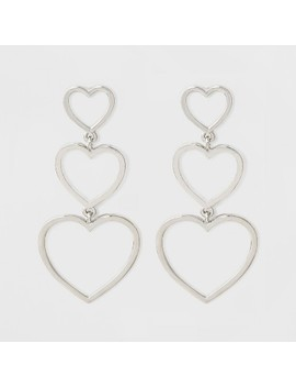 Open Graduated Size Hearts Drop Earrings   Rhodium by Target
