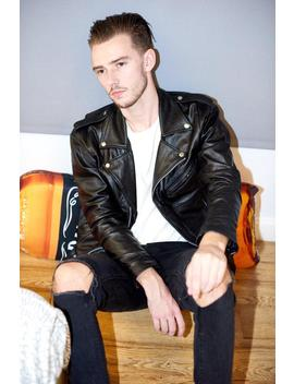 Mens Leather Jacket Black Leather Biker Jacket Rock N Roll by Etsy