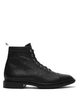 Brogue Detailed Leather Boots by Thom Browne