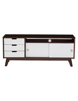 Baxton Studio Alphard Tv Cabinet In Dark Walnut And White by Bed Bath And Beyond