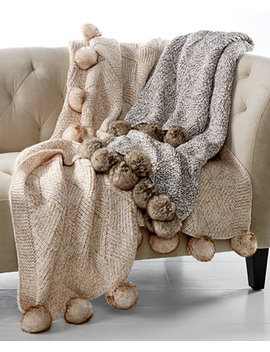 "50"" X 60"" Marled Basketweave Faux Fur Pom Pom Throw, Created For Macy's by Martha Stewart Collection"