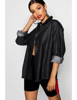 Black Frayed Hem Denim Shirt by Boohoo