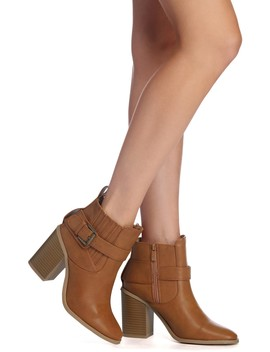 Buckle Down Faux Leather Booties by Windsor
