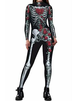 Fixmatti Women Halloween Costume Skeleton Print Bodycon Catsuit Jumpsuit by Fixmatti