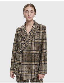 Scarlet Plaid Blazer by Creatures Of Comfort