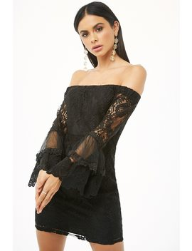 Sheer Lace Off The Shoulder Mini Dress by Forever 21
