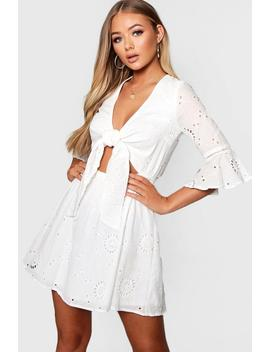 Knot Front Broderie Anglaise Skater Dress by Boohoo