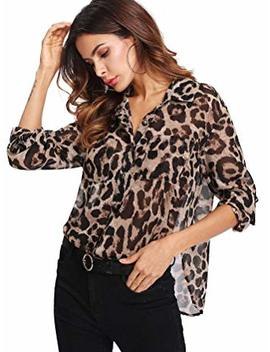 Floerns Women's Long Sleeve Button Down Sheer Leopard Print Chiffon Blouse by Floerns