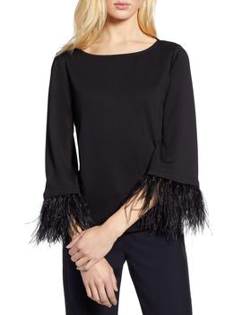 Feather Trim Ponte Top by Halogen®