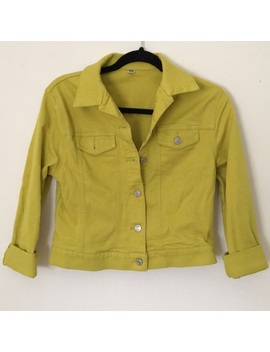 Uniqlo Chartreuse Jean Jacket Preowned/Used by Uniqlo