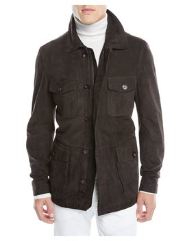 Men's Suede Zip Front Field Jacket by Ermenegildo Zegna