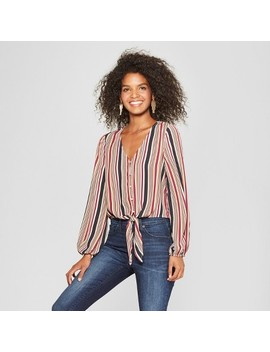 Women's Striped Long Sleeve Button Front Top   Soul Cake (Juniors') Wine by Soul Cake