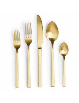 Gold Flatware Set For 4: Stainless Steel Silverware Sets For Four Eating Cutlery Utensil, Knife, Spoon, Fork Dinnerware In Matte Gold by Craft & Kin