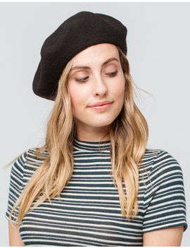 David And Young Solid Black Womens Beret by David And Young