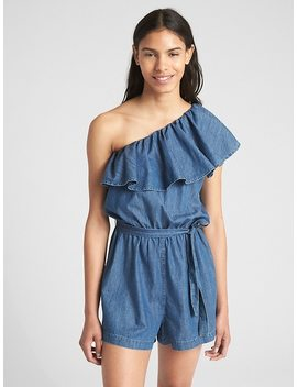 Ruffle One Shoulder Romper In Denim by Gap
