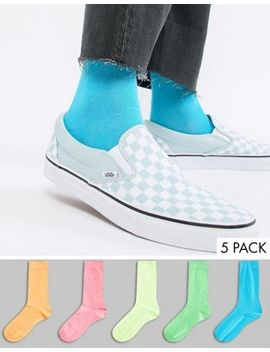 Asos Design Socks In Bright Neons 5 Pack by Asos Design