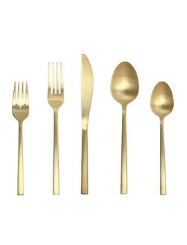 Fortessa Arezzo 18/10 Stainless Steel Flatware, 5 Piece Place Setting, Service For 1, Brushed Gold by Fortessa