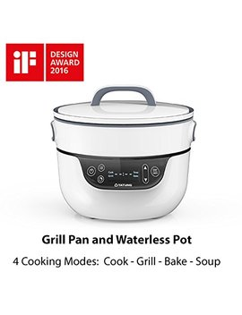 """Tatung Tsb 3016 Ea Fusion Cooker Grill Pan & Waterless Pot 4 Cooking Modes, Soup, Bake & Waterless Cook, 9"""" Grill Pan & 2.8 Qt Waterless Pot, White by Tatung"""