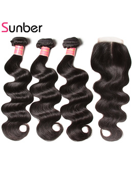 Sunber Hair Peruvian Body Wave Bundles With Closure Remy Hair Weaves 3 Bundles Peruvian Hair Human Hair Bundles With Closure by Sunber