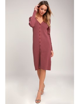 I Adore You Rusty Rose Long Sleeve Button Up Midi Sweater Dress by Lulus