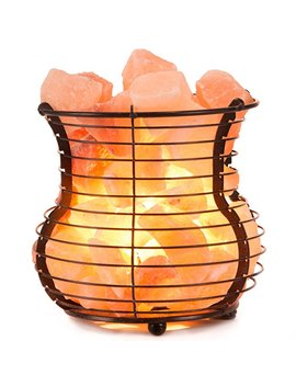 Crystal Allies Gallery: Natural Himalayan Salt Wire Mesh Basket Vase Lamp With Cord, Light Bulb & Authentic Crystal Allies Info Card by Crystal Allies