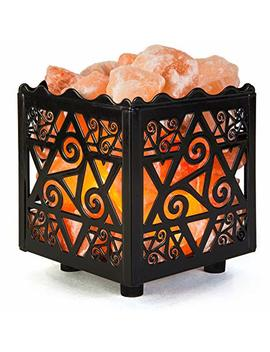 Crystal Decor Natural Himalayan Salt Lamp In Star Design Metal Basket With Dimmable Cord by Crystal Decor