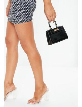 Black Patent Mini Handle Bag by Missguided