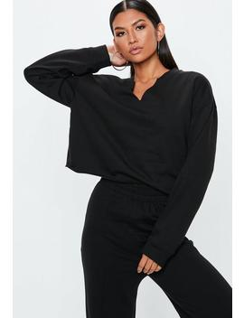 Black Notch Neck Cropped Sweatshirt by Missguided