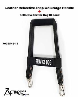 """Activedogs Leather 12"""" Reflective Snap On Service Dog Bridge Handle + Reflective Service Dog Id Band by Activedogs"""