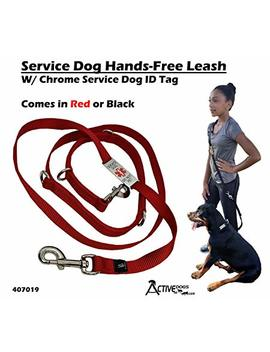 Activedogs Service Dog Hands Free 7' Leash W/Chrome Service Dog Id Tag by Activedogs