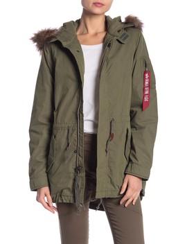 Fishtail Faux Fur Trim Jacket by Alpha Industries