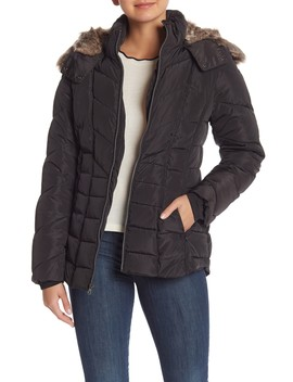 Faux Fur Hooded Short Puffer Jacket by Nautica