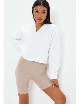 White Notch Neck Crop Sweat Shirt by Missguided