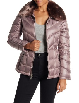 Faux Fur Collar Down Jacket by Kenneth Cole New York